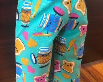 Doll Peanut Butter and Jelly PJ pants, flannel girl doll pants, Doll clothes 18 inch doll pants doll PB & J pants American doll pajama pants