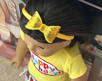 4 piece set Bright Yellow Happy Birthday Girl doll clothes 18 inch American doll clothes 18 doll shoes, doll glitter headband, ballet flats