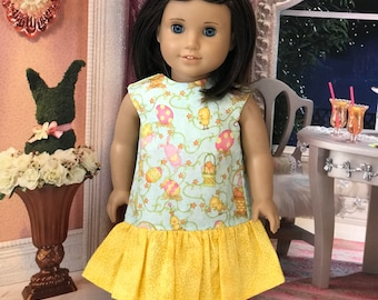 American Doll Easter Bunny Easter Egg ruffle tank dress, dolka dot printed yellow felt flower hair clip, Made Fast Shipping, 18 inch 15inch