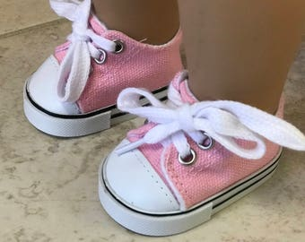 Girl Doll pink canvas sneakers, 18 inch doll Pink sneakers, Canvas Pink sneakers, American girl sneakers, girl sneakers, ready to ship