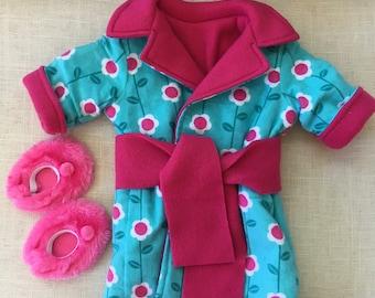 Girl Doll Bathroom for 18 inch doll clothes, doll flower bathrobe, Doll Slippers, 18 inch doll shoes, by Sweet Pea Kidz