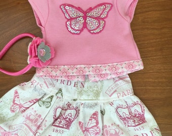 Paris girl doll skirt, Doll Butterfly shirt, Felt Flower headband 18 inch doll clothes 15 inch doll clothes, Girl Twin clothes American doll