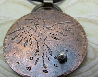 Copper Bird Necklace Sterling Silver Leather Cord