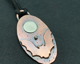 Copper and Silver flying bat necklace