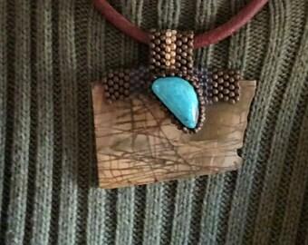 Bijoux - Gratitude - Jasper avec cabochon Turquoise - Collier - Collier de perles Bale - tissage - déclaration - BOHO