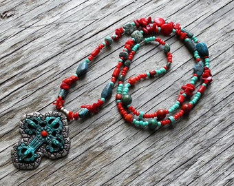 Long Necklace - Turquoise & Coral Beads -  Pewter Patina Cross Pendant - Statement Necklace - Southwestern - BOHO