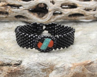 Free Form Peyote Stitch Beaded Bracelet - Bead Weaving -  Red River Jasper/Amazonite/Obsidian Cabochon - BOHO