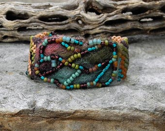 Jewelry - Free Form Peyote Stitch Beaded Bracelet  - Bead Weaving - BOHO - Hand Felted and Beaded Focal