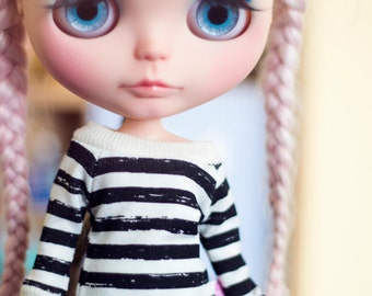 Black Stripes sweater for Blythe dolls