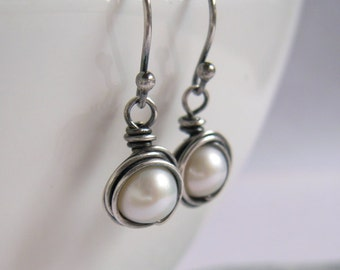 Pearl Earrings, Wire Nest, Oxidized Sterling Silver, White Freshwater Pearl, Something Old, Bridal Jewelry