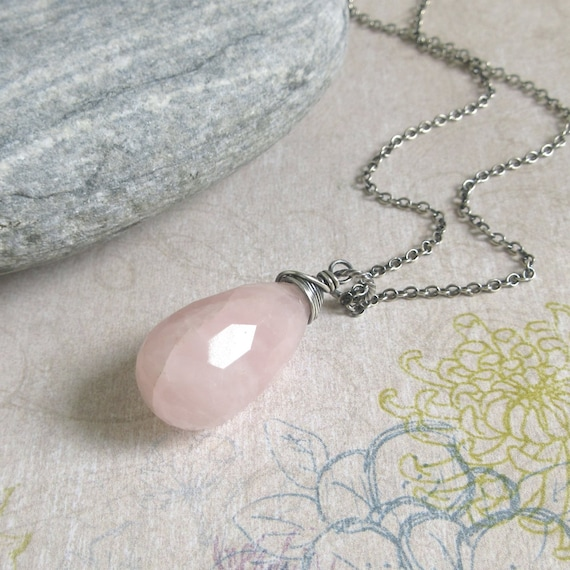 Rock crystal quartz and Rose quartz cluster pendant necklace with dainty silver chain