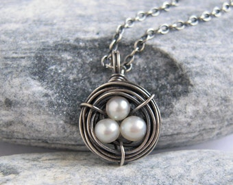 Tiny Sterling Silver Egg Nest Necklace, White Pearl Pendant, Bird Nest Memorial Jewelry, Baby Shower Gift