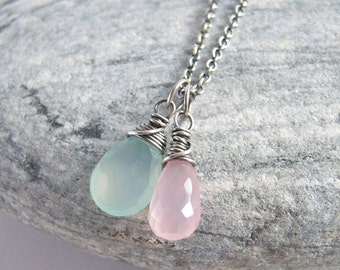 Aqua Blue And Pink Chalcedony Oxidized Sterling Silver Necklace
