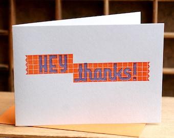 HEY THANKS orange and purple letterpress card