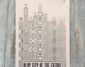 Blox City of the Future Letterpress Poster