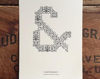 Ornamental Ampersand letterpress PRINT