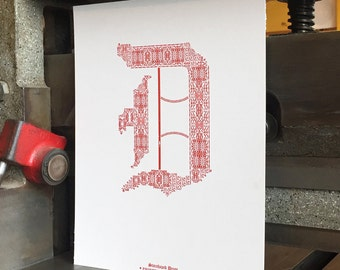 D for Detroit Letterpress Print