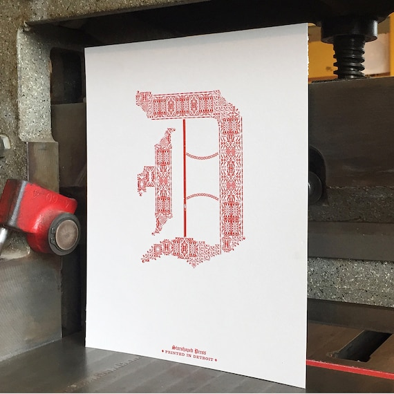 D for detroit letterpress print reheart Images