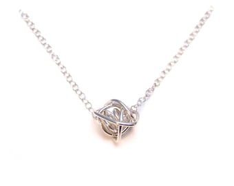 Unique Silver Necklace, Silver Knot Necklace, One of a Kind Pendant Necklace