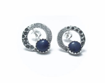 Organic Circle Blue Lapis and Sterling Silver Studs