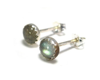 Labradorite and Silver Stud Earrings- Labradorite Stud Earrings, Labradorite Earrings 5mm