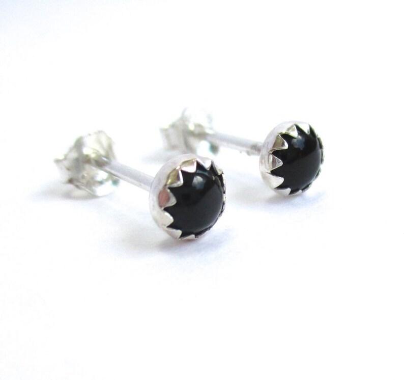 09b9ac074 Black Stud Earrings Mens Studs or Unisex Black Onyx Stud   Etsy