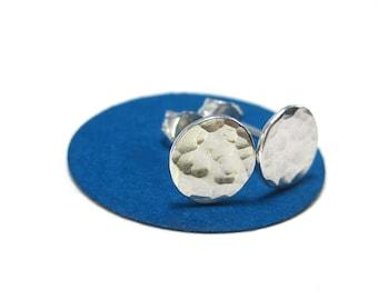 Silver Disc Stud Earings- Hammered Silver Earrings, 10 mm Flat Studs