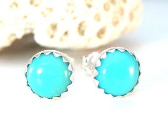 Turquoise Stud Earrings, 5 mm or 6mm, Turquoise Earrings, December Birthstone Jewelry