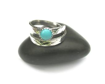Adjustable Turquoise Ring, Silver Wraparound Gemstone Ring