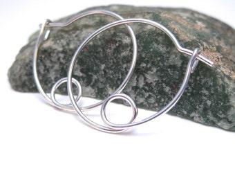 These hoops in 14K Gold Fill- Silver Hoops With a Loop, Unique Hoop Earrings
