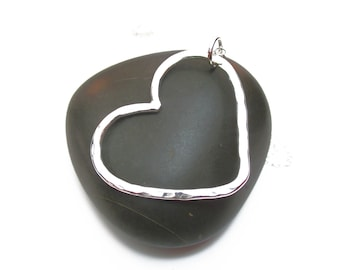 Silver Heart Necklace for Her, Valentines Gift Jewelry