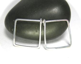 Square Hoop Earrings- Medium Hoops, Handmade Silver Jewelry
