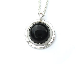 Hammered Silver Circle Pendant Necklace with Black Onyx Gemstone
