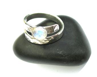 Adjustable Moonstone Ring, Silver Wraparound Gemstone Ring