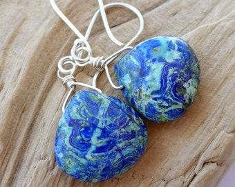 Azurite Malachite Sterling Silver Earrings, Blue Green Gemstone Dangle Earrings, Southwestern Jes Maharry Style Earrings, Gift for Her