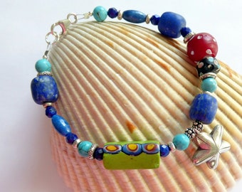 Chunky Vintage African Trade Bead Turquoise Lapis Sterling Silver Bracelet ~ One of A Kind Southwestern Jes Maharry Style Bracelet