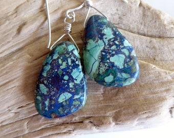 Neon Azurite Malachite Sterling Silver Earrings, Southwestern Gemstone Minimalist Dangle Earrings, One of A Kind Gift for Her