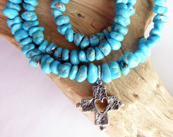 Blue Bird Turquoise Sterling Silver Heart Cross Necklace, December Gemstone Necklace, Southwestern Jes Maharry Style Necklace, Gift for Her