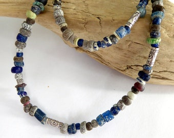 Mixed Ancient Nila Glass Koli Bead Sterling Silver Necklace, Deep Blue Brown Green Glass Bead Layering Necklace, One of A Kind Gift for Her