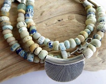 Antique Mixed Pearlized Djenne Nila Glass Bead Fine Silver Half Moon Necklace, One of A Kind Gift for Her
