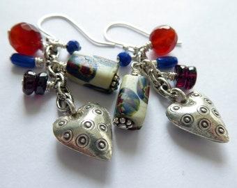 Southwestern Jes Maharry Style Earrings Azurite Malachite Sterling Silver Earrings Gift for Her Blue Green Red Gemstone Dangle Earrings