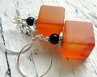 Orange Carnelian Blue Goldstone Sterling Silver Earrings Halloween Gemstone Earrings Gemstone Cube Earrings Modern Fun Funky Boho Earrings