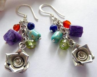 Multi Gemstone Silver Flower Cluster Dangle Earrings, Long Southwestern Gemstone Earrings, Unique Jes Maharry Style Mother's Day Gift