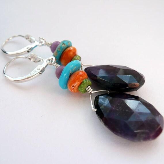 Artisan Multi Colored RARE Stones Turquoise Gaspeite Lapis Phosphosiderite Sterling Silver Bracelet Southwestern Western Boho Bracelet Gift