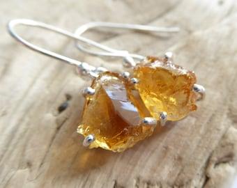 Mandarin Citrine Sterling Silver Earrings, Rough Raw Gemstone Dangle Drop Earrings, November Birthstone, One of A Kind, Gift For Her