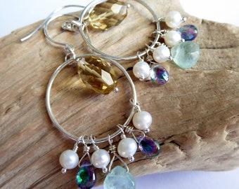 Citrine Aquamarine Topaz Pearl Sterling Silver Cluster Dangle Hoop Earrings, Colorful Gemstone Bohemian Hoops, November Birthstone Gift