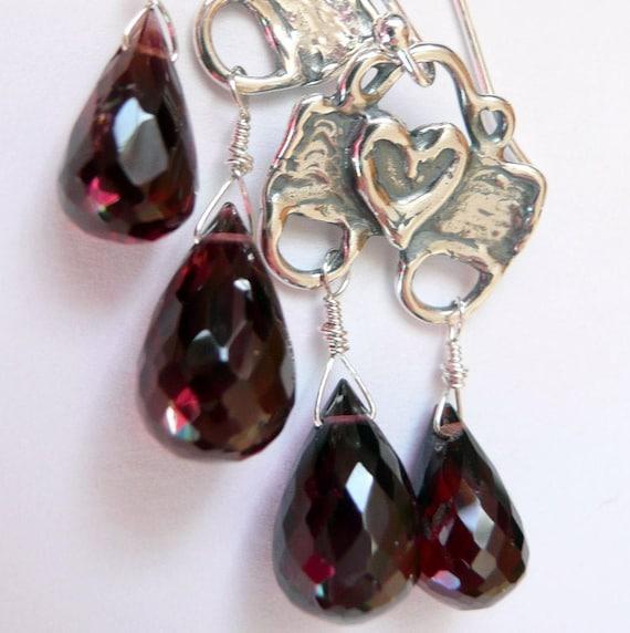 Artisan Lapis Slab Hearts Garnet Sterling Silver Earrings Boho Red Blue Silver Dangles Sundance Southwestern Cowgirl Gift fo Her