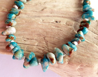 Royston Ribbon Turquoise Sterling Silver Bracelet, December Birthstone, Layering Bracelet, One of A Kind, Gift for Her