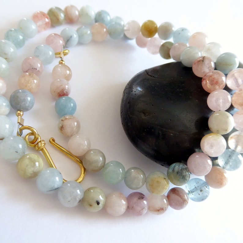 Aquamarine Morganite Beryl 14kt Gold Necklace Minimalist Pastel Gemstone Necklace Unique One of A Kind Gift March Birthstone Necklace