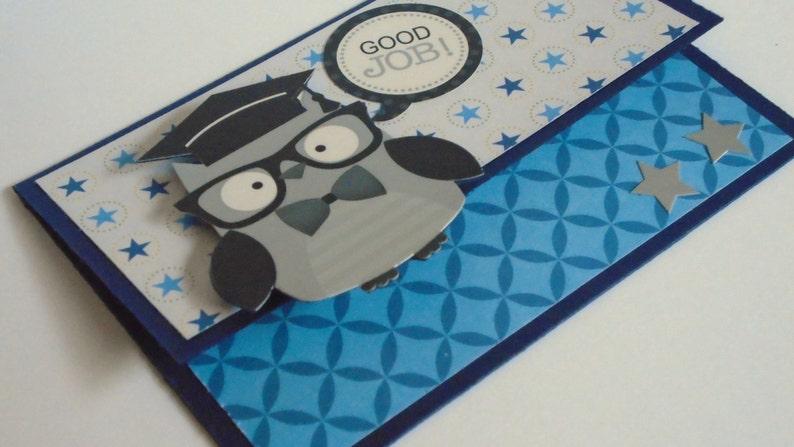 Silver and Blue Owl Grad money holder Graduation card Graduation Gift Card Holder
